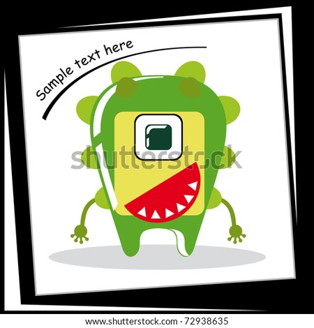 Colorful monster on white background - stock vector