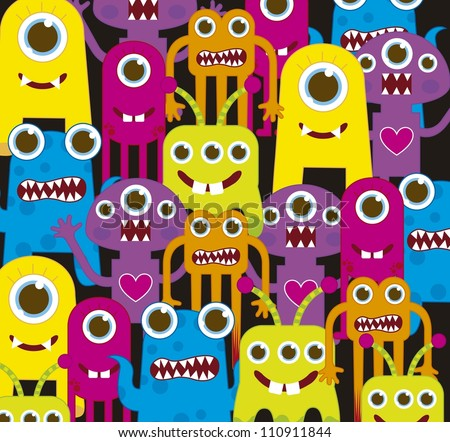 colorful monsters over black background. vector illustration - stock vector