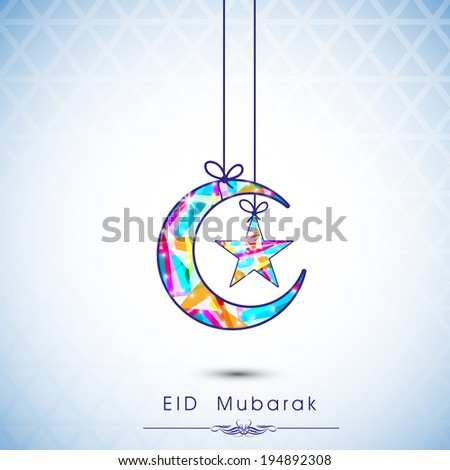 Colorful moon and star hanging by ribbon on shiny blue background, Beautiful greeting card design for celebration of Muslim community festival Eid Mubarak.  - stock vector