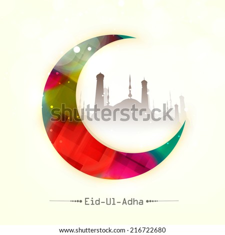 Colorful moon with mosque silhouette for Muslim community festival Eid-Ul-Adha celebrations.  - stock vector