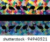 Colorful mosaic and flamingo birds silhouettes reflection illustration background vector - stock vector