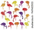 Colorful mosaic flamingo bird silhouettes illustration collection background vector - stock vector