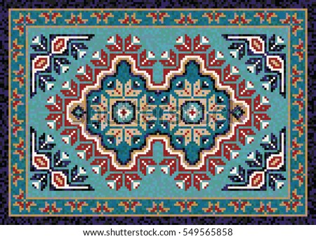 Colorful Mosaic Navajo Rug With Traditional Folk Double Diamond Geometric  Pattern. Native American Indian