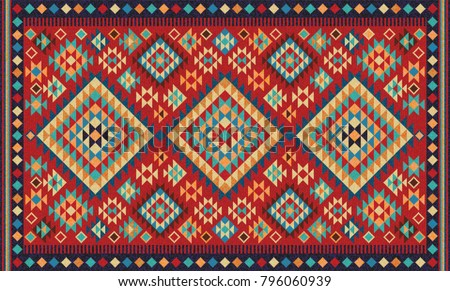 Colorful Mosaic Oriental Kilim Rug Traditional Stock
