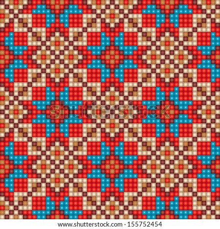 Colorful mosaic seamless ethnic pattern background in blue, red, and beige colors Vector file editable, scalable and easy color change. Can use it for packaging, textile design and scrapbooking, other - stock vector