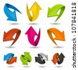 Colorful Motion Arrows Set/ Illustration of a collection of abstract glossy dynamic arrows on white background, for connection, recyclable and refresh symbols - stock photo