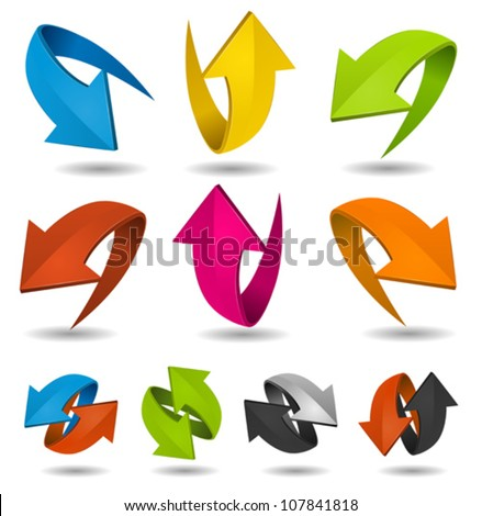 Colorful Motion Arrows Set/ Illustration of a collection of abstract glossy dynamic arrows on white background, for connection, recyclable and refresh symbols - stock vector