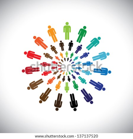 Colorful multi-ethnic people teams or communities meet as circles. This vector graphic can represent concept of teams interacting and collaborating with each other & also global social communities - stock vector