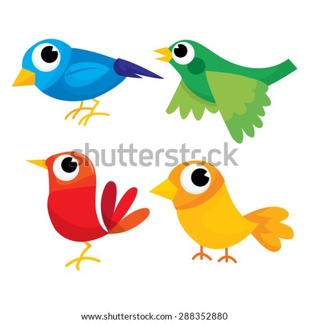 Colorful multicolored birds in blue, green, red and yellow.