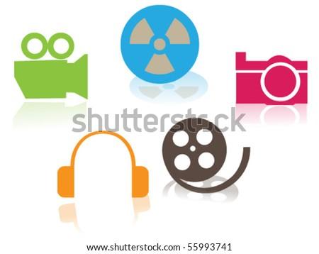 colorful multimedia icon set - stock vector