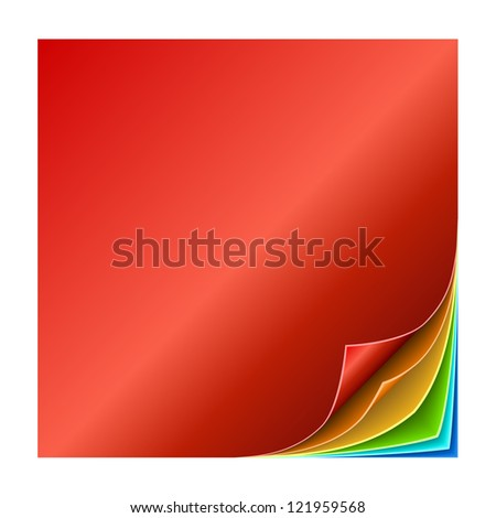 Colorful multiple curled page corners vector illustration. - stock vector
