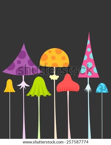 Colorful mushrooms. Vector illustration - stock vector