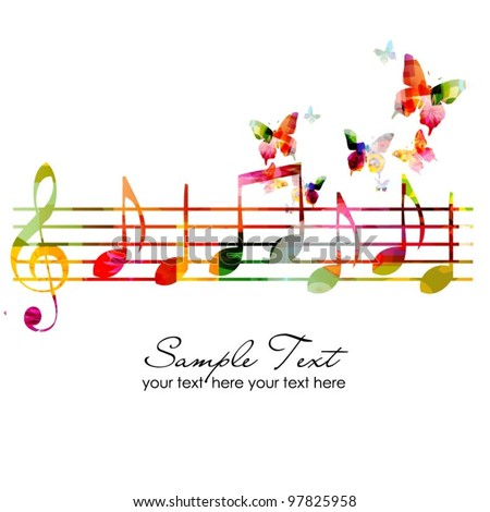 colorful music background - stock vector