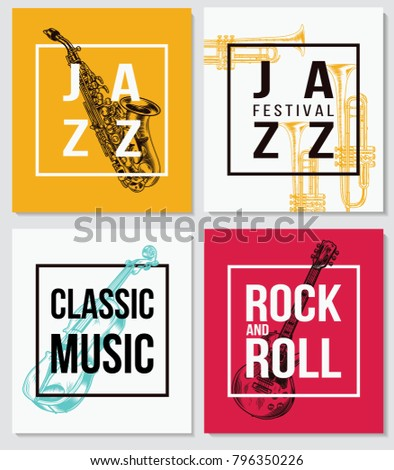 Colorful Music Background Jazz Music Rock Stock Vector 796350226