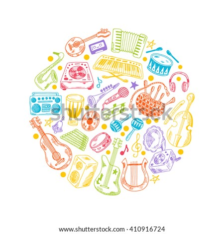 Colorful music background. Round circle composition. Hand drawn vector illustration. Synthesizer, bass guitar, domra, gramophone, bagpipe, microphone, headphones, maracas, cassette, piano and other. - stock vector