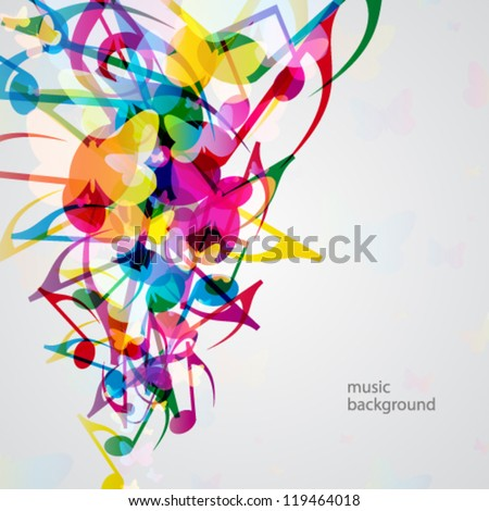 Colorful music background with bright musical design elements. - stock vector