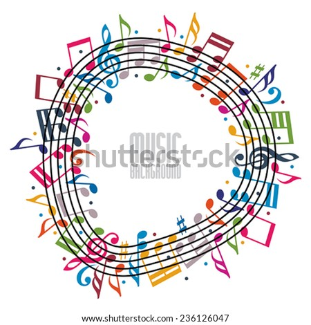 Colorful music background with clef and notes, music sheet in round frame, musical theme template for your design.