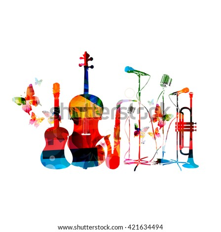Colorful music background with music instruments and butterflies - stock vector