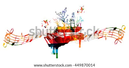 Colorful music background with piano and music notes - stock vector