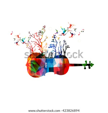 Colorful music background with violoncello and hummingbirds - stock vector
