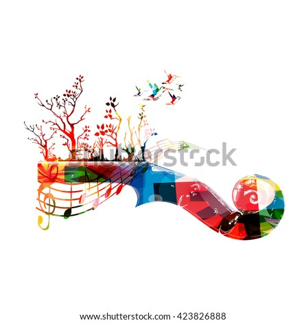 Colorful music background with violoncello pegbox and hummingbirds - stock vector