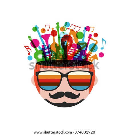 colorful music instrument in head, isolated on white background - stock vector