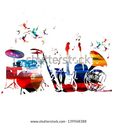 Colorful music instruments background  - stock vector