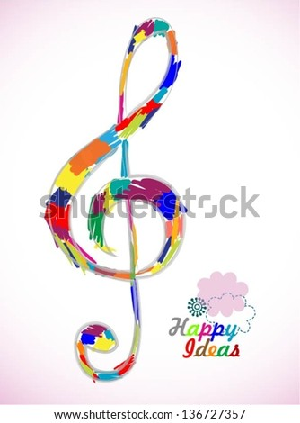 Colorful music note theme