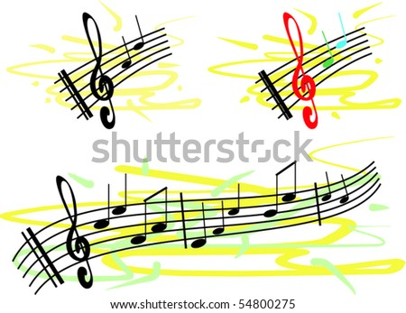 Colorful music notes - stock vector