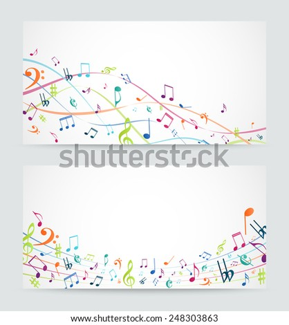 Colorful music notes banner