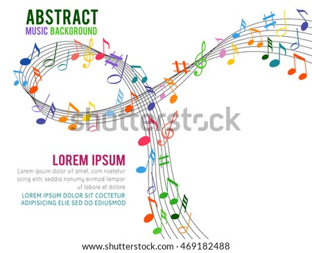 Colorful music notes on a solide white background