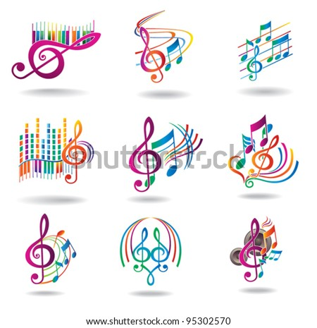 Colorful music notes. Set of music design elements or icons. - stock vector