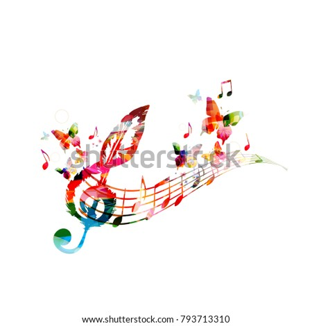 Colorful Music Poster With Notes Elements For Card Invitation