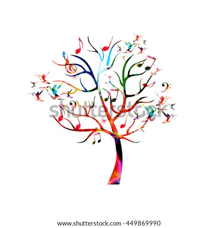 Colorful music tree with music notes and hummingbirds - stock vector