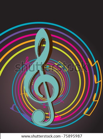 Colorful musical notes with rainbow swirly eddy - stock vector