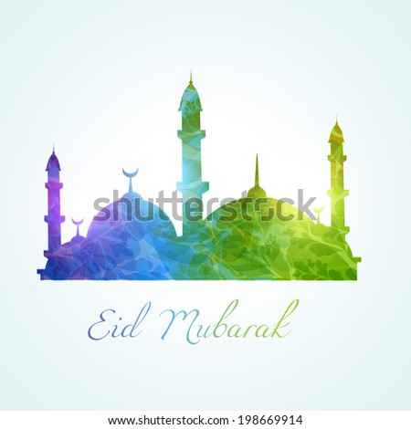 colorful muslim mosque design background - stock vector