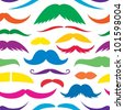 Colorful mustache seamless pattern. - stock vector