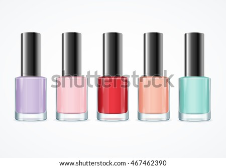 Colorful Nail Polish Bottle Set. Various Colors. Vector illustration