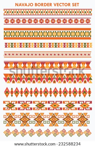Colorful NavajoAztec Border Vector Set