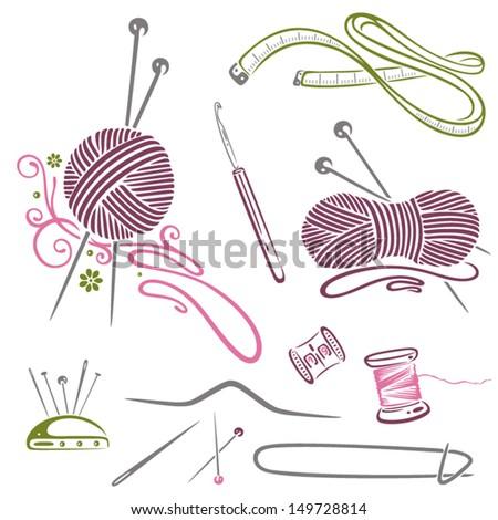 Colorful needlework vector set - stock vector