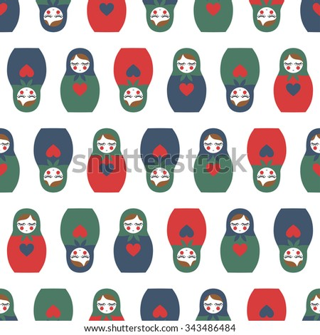 Colorful Nested doll seamless pattern. Cute wooden Russian doll - Matrioshka. Nested doll Matrioshka illustration isolated on white background. - stock vector