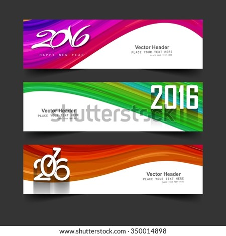 Colorful new year 2016 banners vector - stock vector