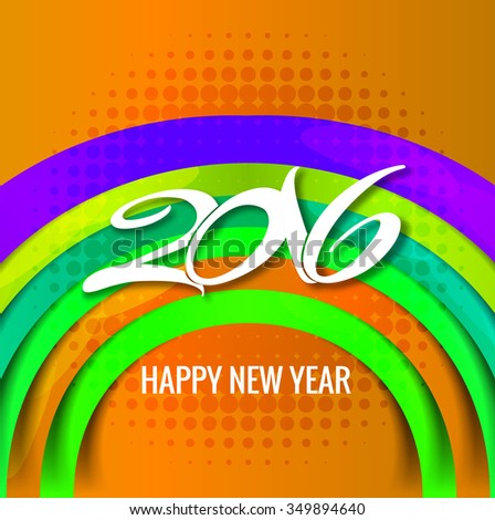 Colorful new year 2016 card vector design