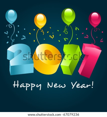 Colorful 2011 new year card with balloons. - stock vector