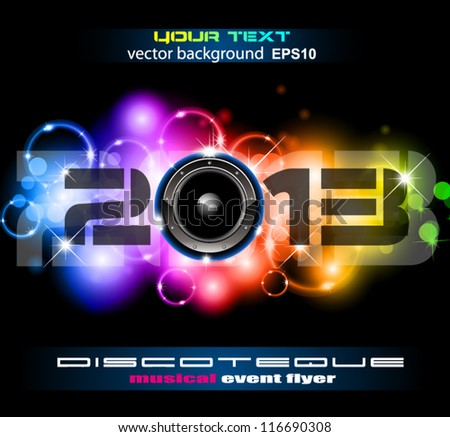 Colorful 2013 New Year Celebration Background with Glitter and Rainbow Colours - stock vector