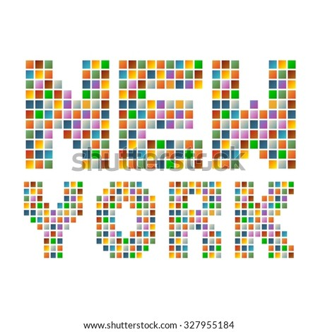 Colorful new york text in vector - stock vector