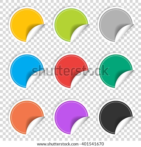 Colorful nine transparent blank stickers set. Badge collection in red, blue, green, gray, black, yellow, orange and violet colors. Vector illustration EPS10 - stock vector
