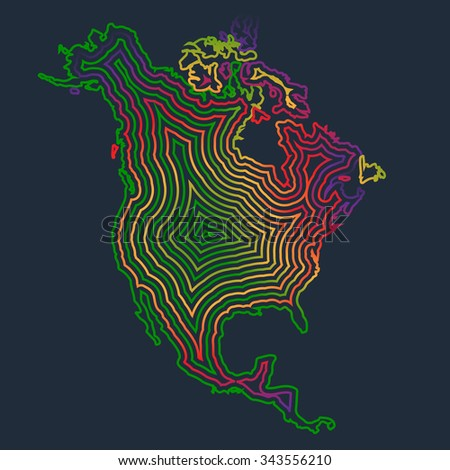 Colorful North America made by strokes, vector - stock vector