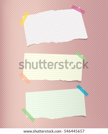 Colorful note, notebook, copybook paper sheets stuck with sticky tape on striped pattern