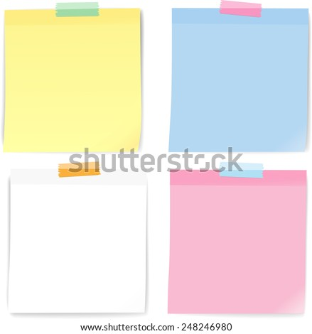 Colorful note paper masking tape, Vector - stock vector